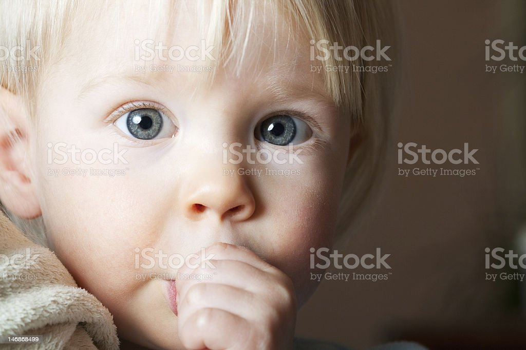 Young child sucking her thumb. royalty-free stock photo
