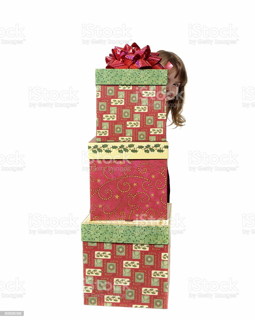 Young Child With Christmas Presents royalty-free stock photo
