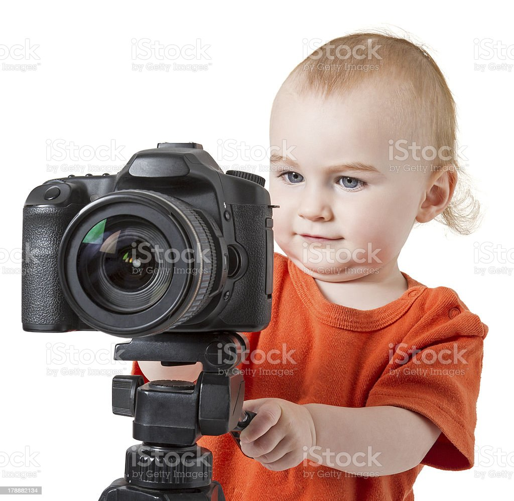 young child with digital camera stock photo