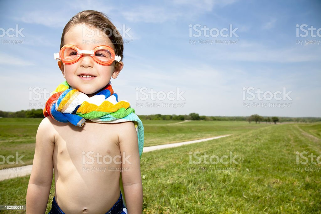 Young Child With His Goggles and Towel Cape royalty-free stock photo