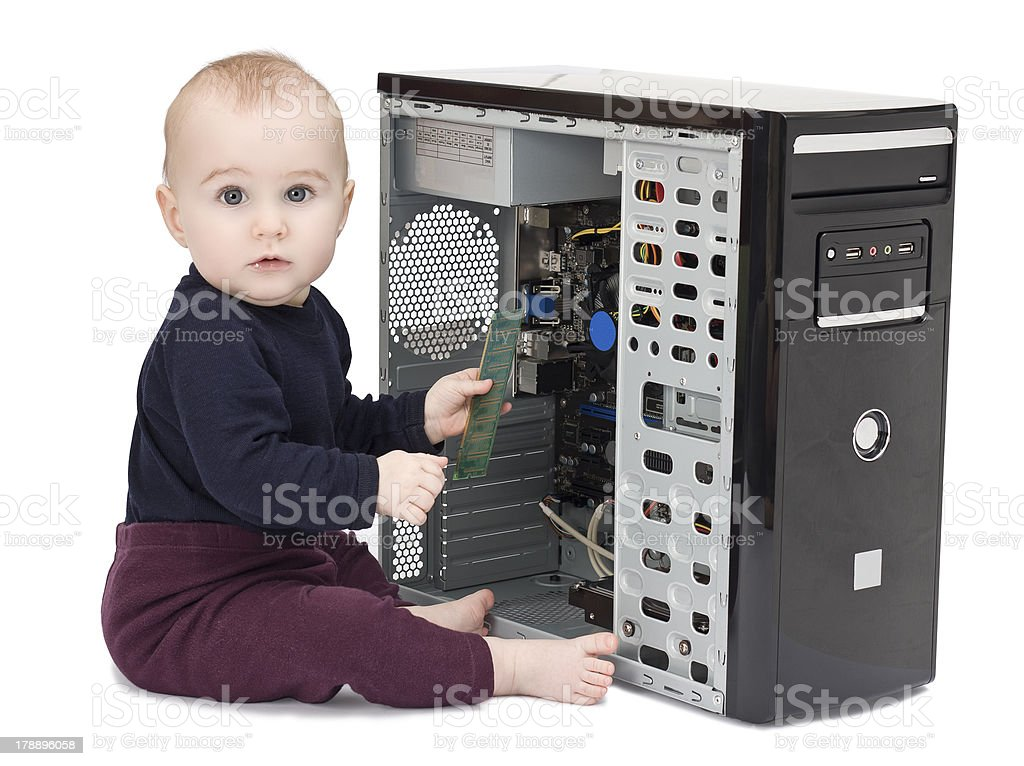 young child with open computer stock photo