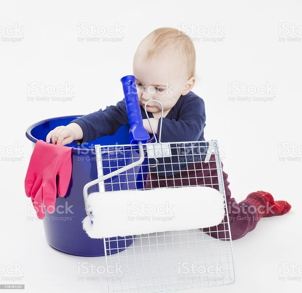 young child with painters equipment royalty-free stock photo