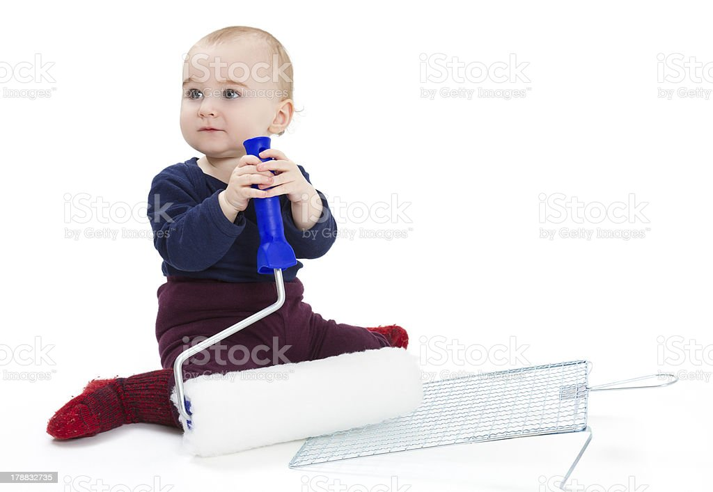 young child with painters equipment stock photo