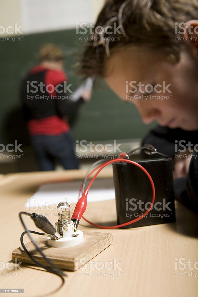 Young children are learning for technician royalty-free stock photo