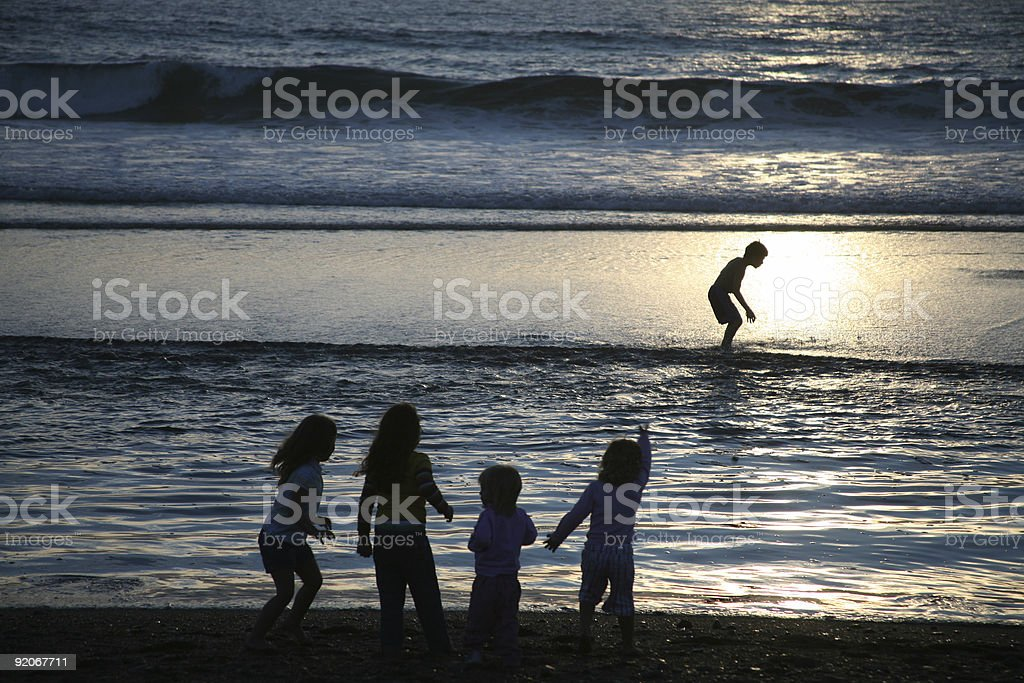 Young Children at Beach stock photo