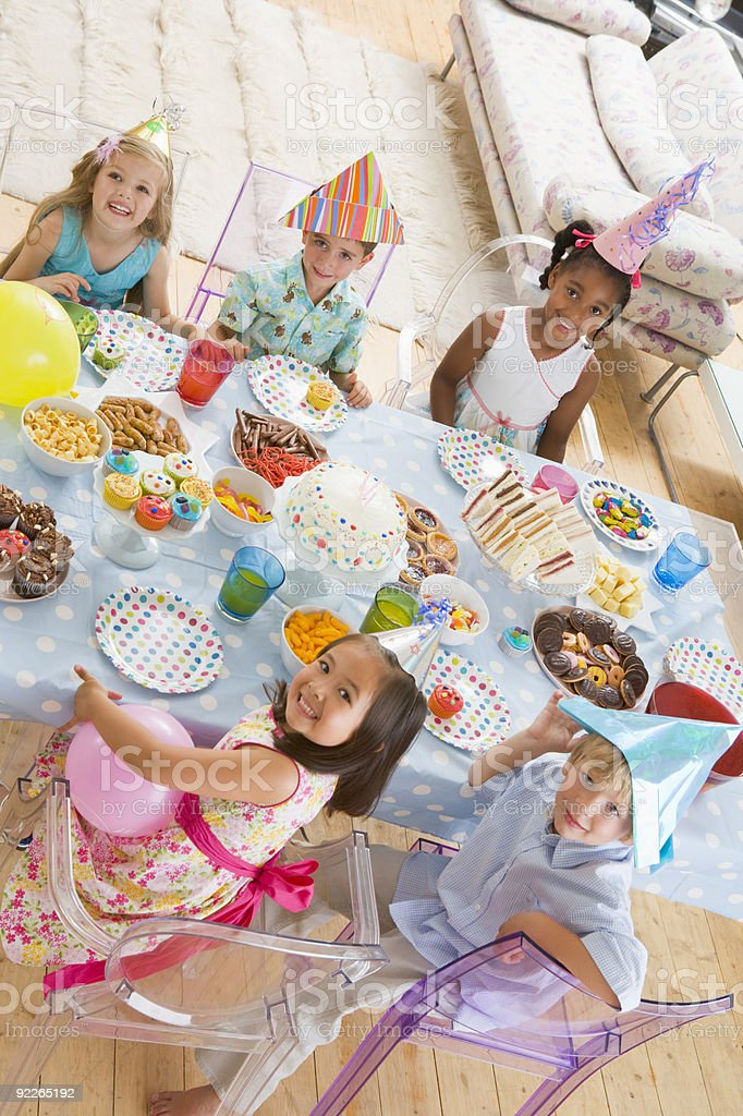Young children at party royalty-free stock photo