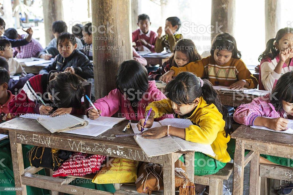 Young children at village school in Myanmar. stock photo