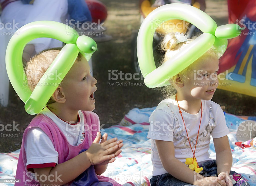 Young children enjoying a party stock photo
