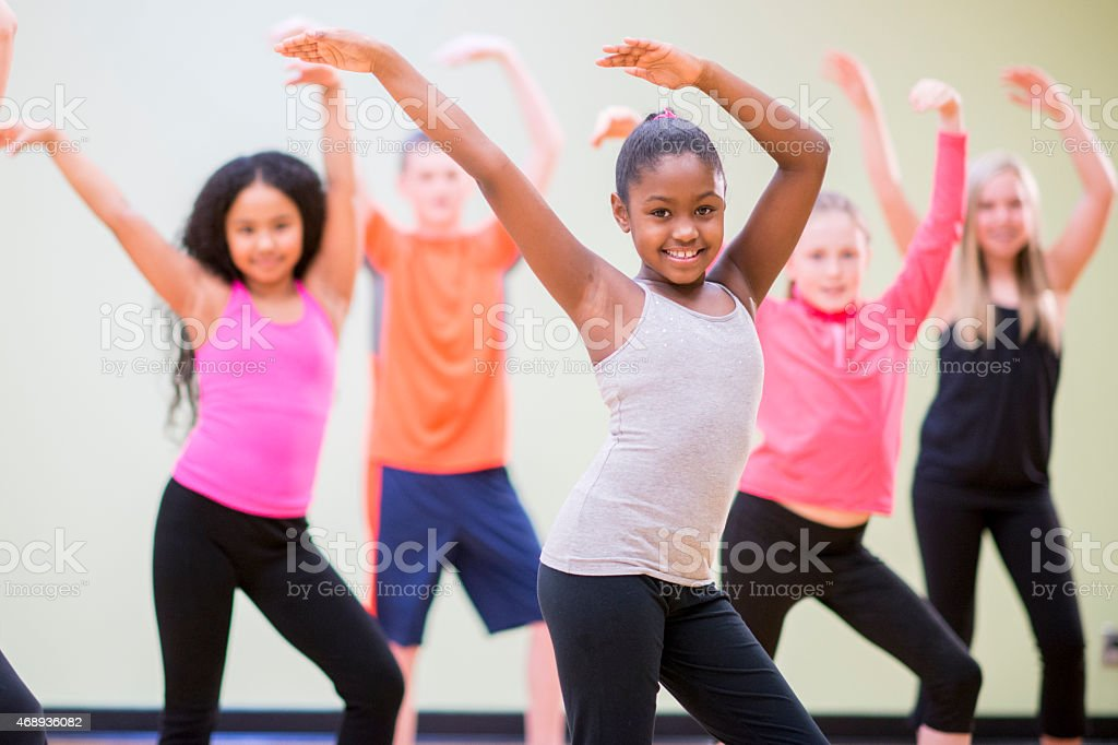 Young Children Practicing Dance stock photo