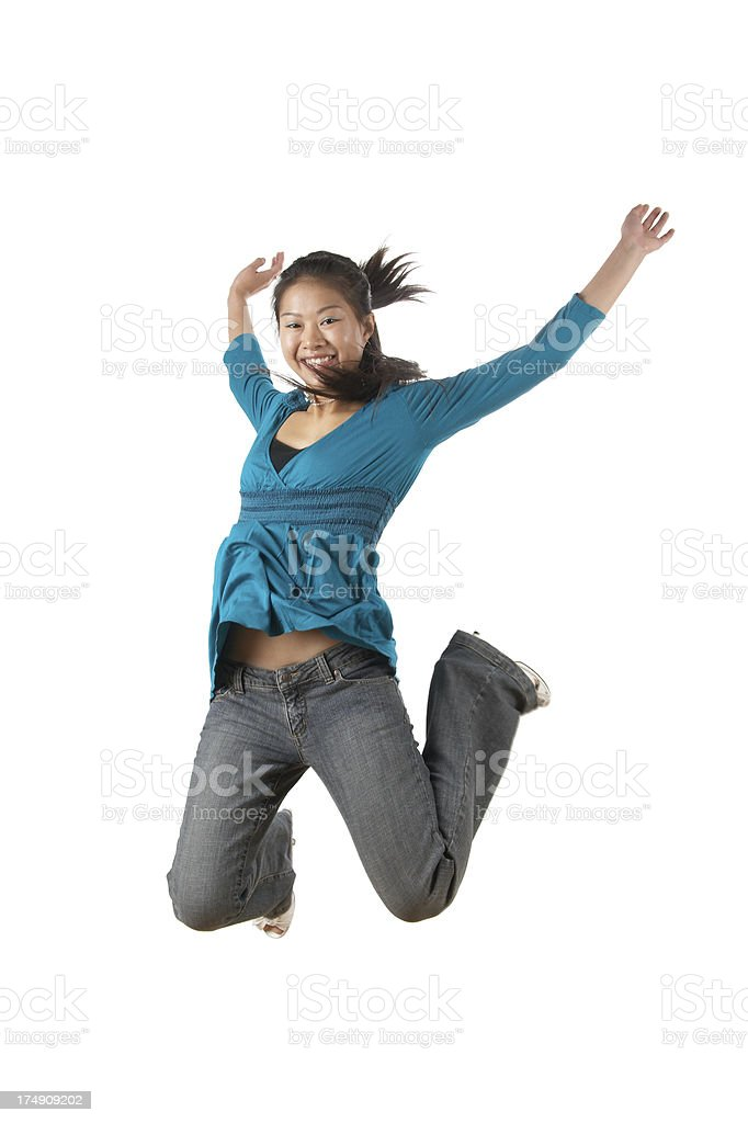 young chinese women jumping royalty-free stock photo