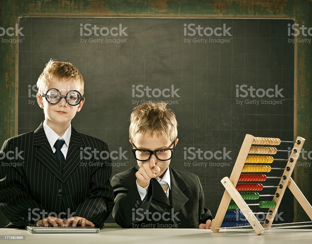 young clever science children students with abacus and copyspace stock photo