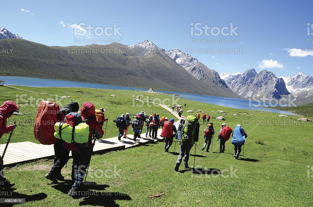 Young Climbers Hiking royalty-free stock photo
