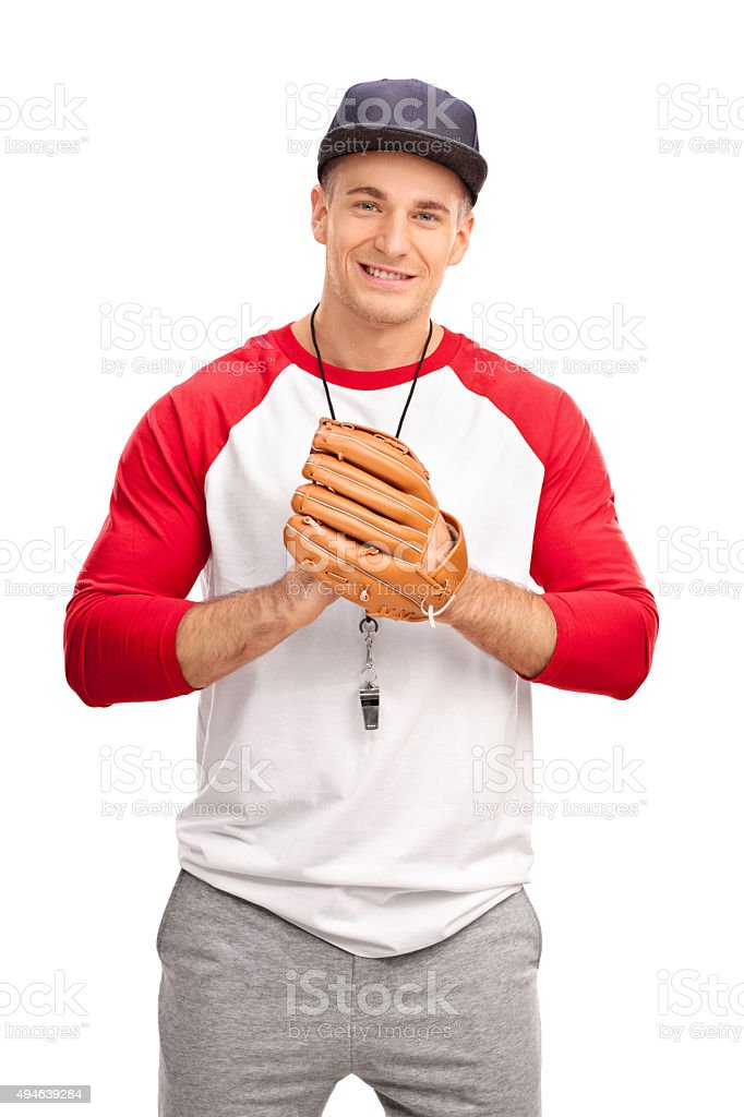 Young coach with a baseball glove stock photo