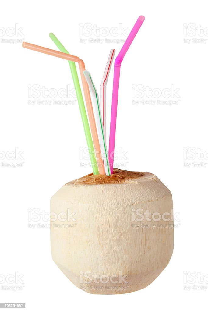 Young Coconut with Straws stock photo