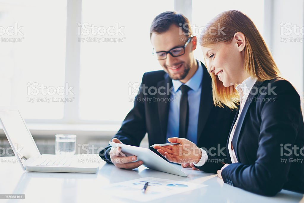 Young colleagues stock photo