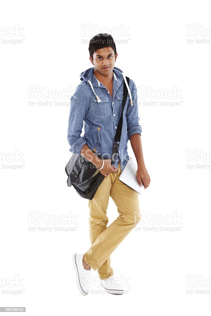 Young college student standing on white stock photo