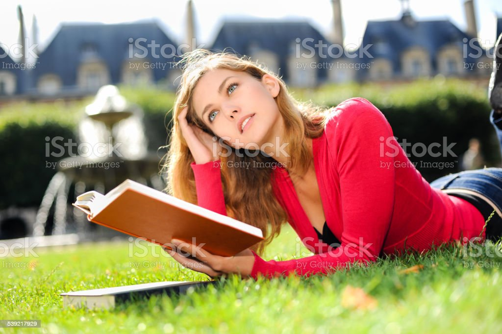 Young College Student Woman Studying stock photo