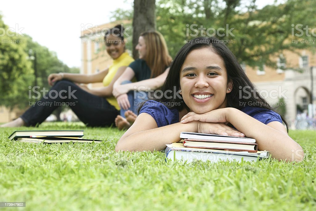 Young College Students Hanging Out is University Common Area royalty-free stock photo