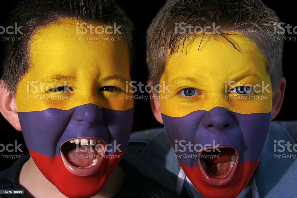 Young Columbian Football Fans royalty-free stock photo