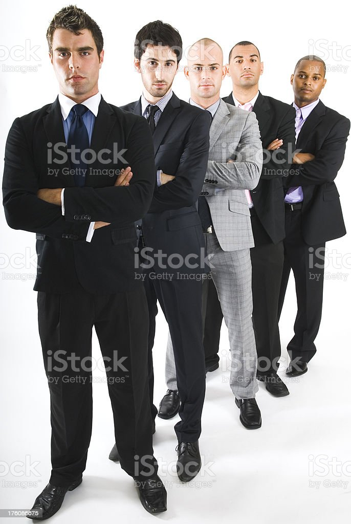 Young confident multi-ethnic business people standing, isolated - II royalty-free stock photo