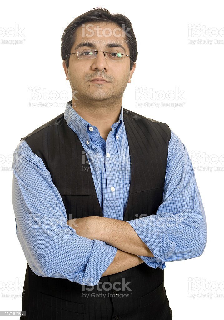 Young Confident Successful Indian Businessman Arms Crossed Isolated On White royalty-free stock photo