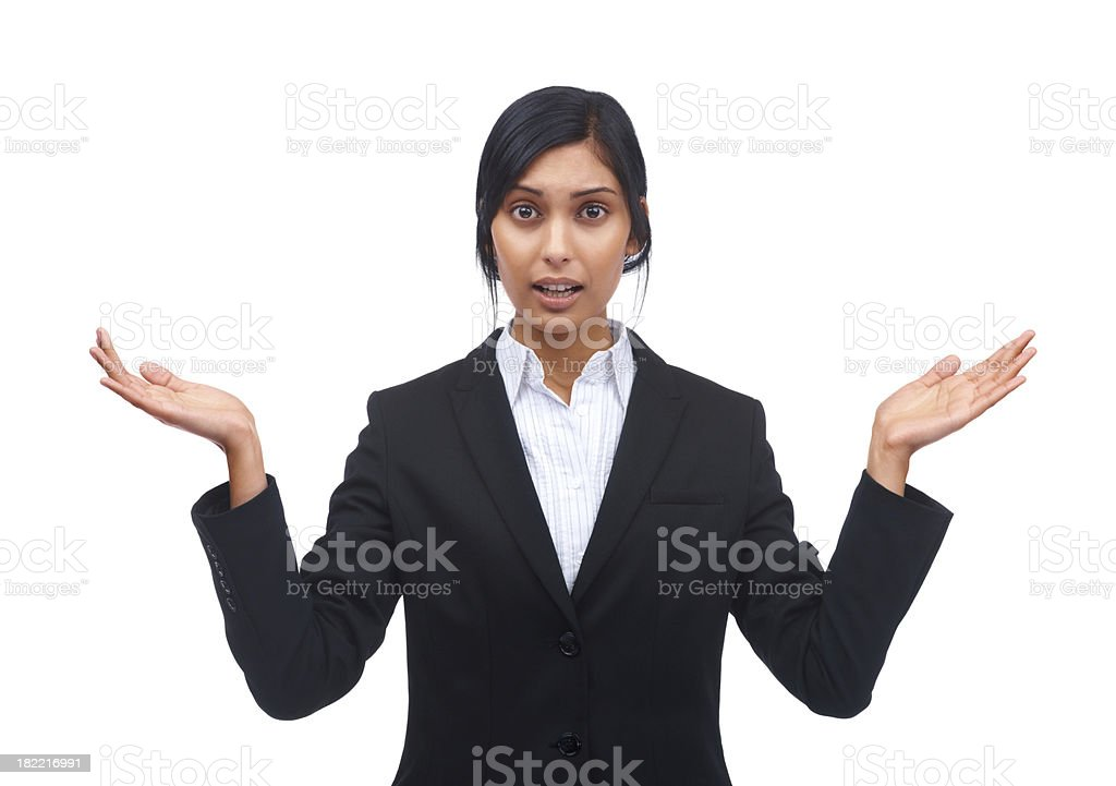 Young confused business woman on white royalty-free stock photo