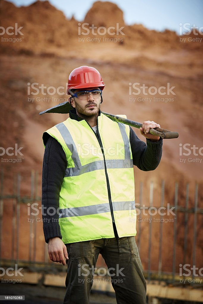 Young construction worker at work royalty-free stock photo
