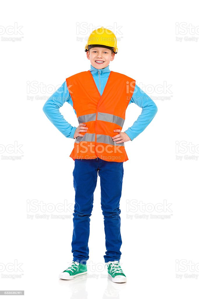 Young construction worker posing stock photo
