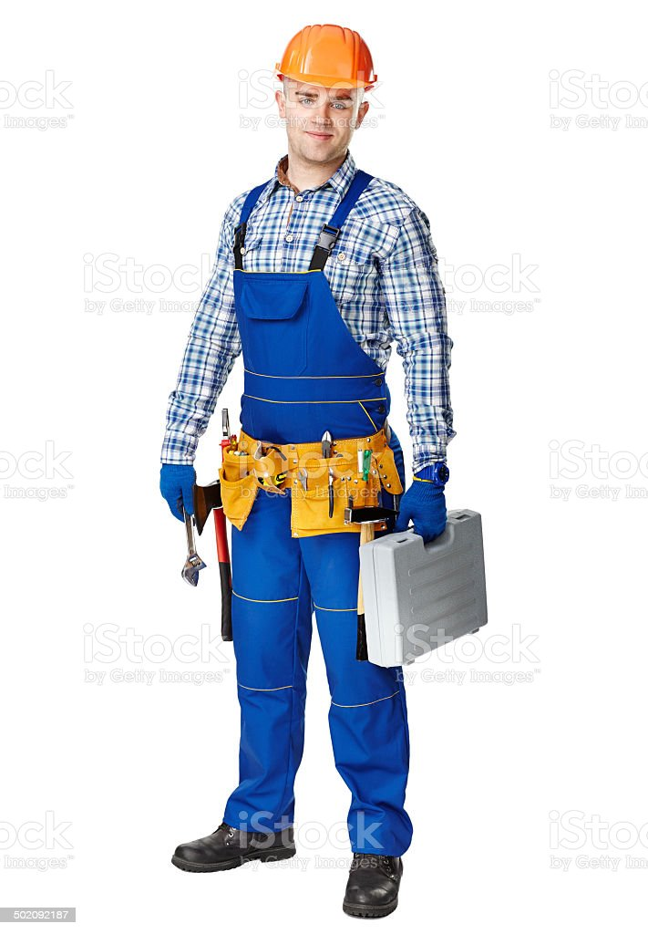 Young construction worker with toolbox royalty-free stock photo