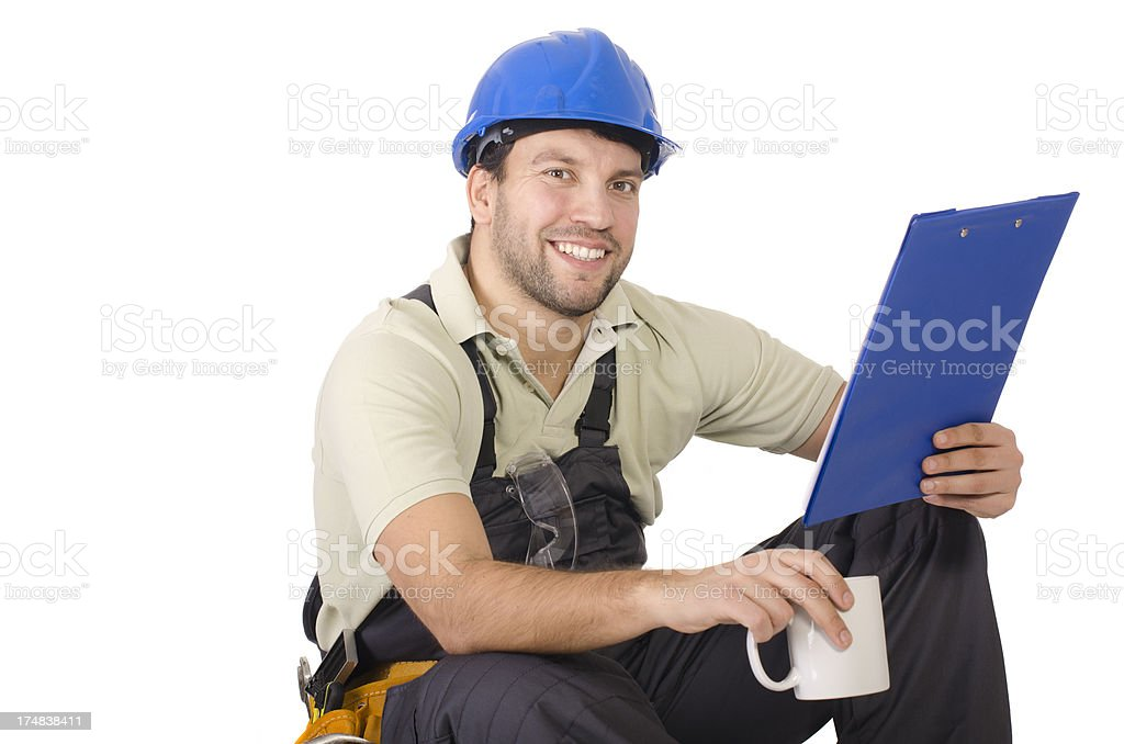 Young contractor taking a break royalty-free stock photo