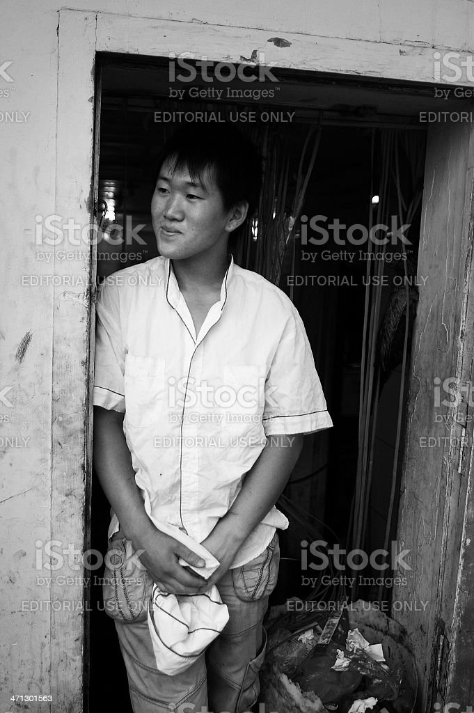 Young cook of a chinese restaurant stock photo