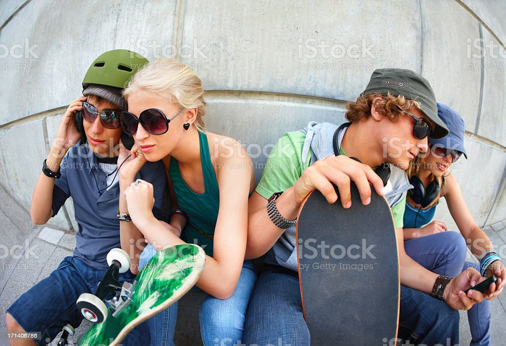 Young cool friends, looking street royalty-free stock photo