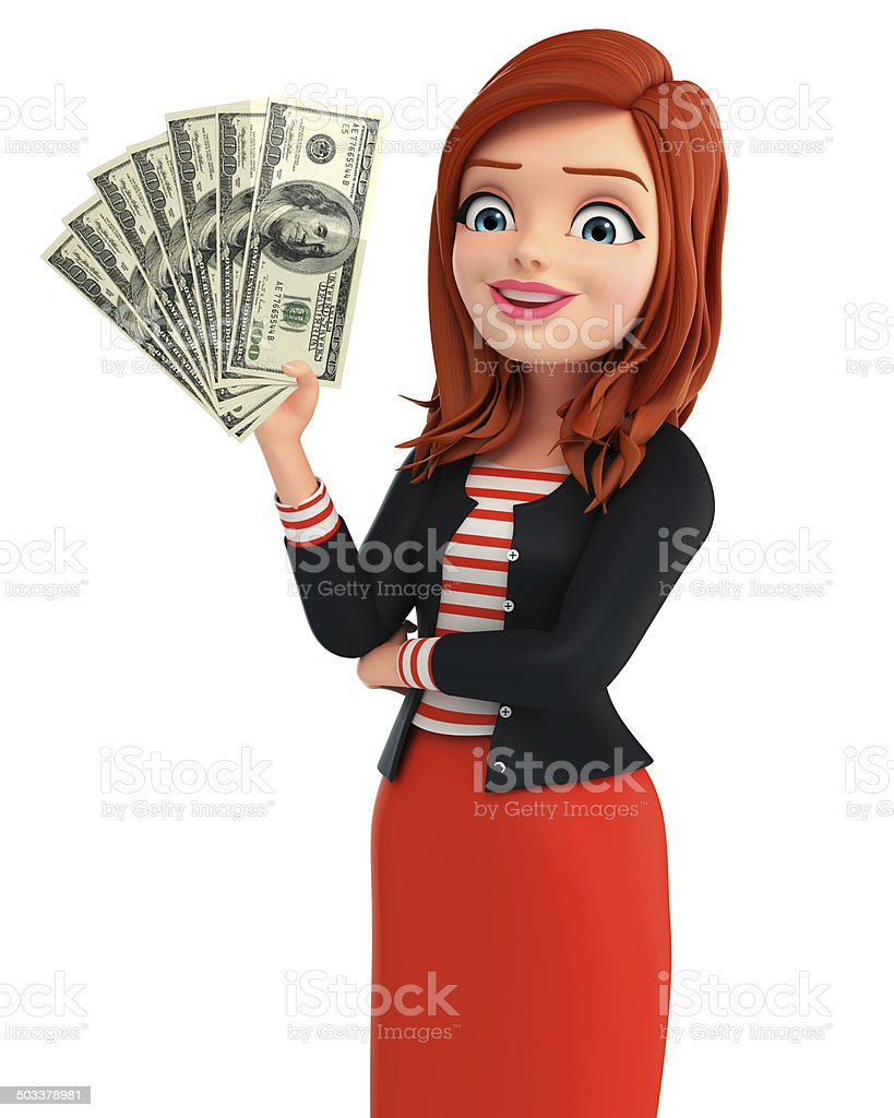 Young Corporate lady with dollars stock photo
