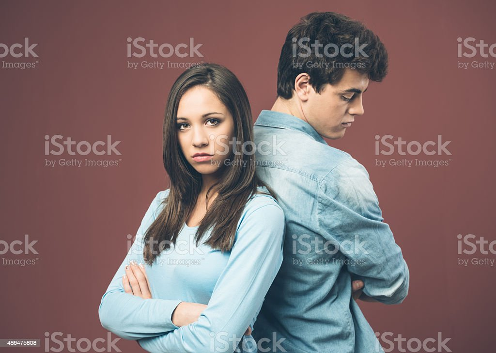 Young couple arguing stock photo