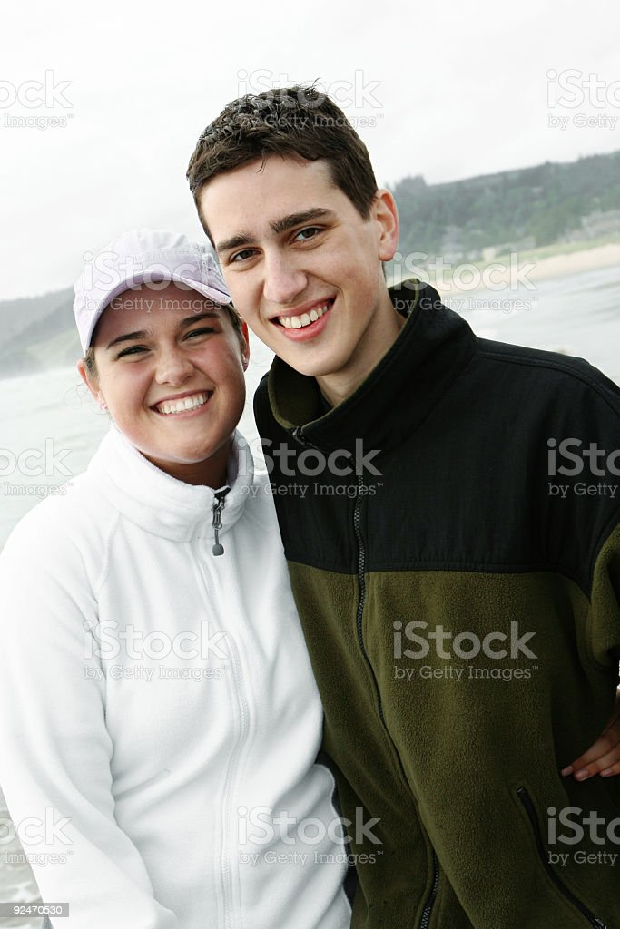 Young Couple at a Beach royalty-free stock photo