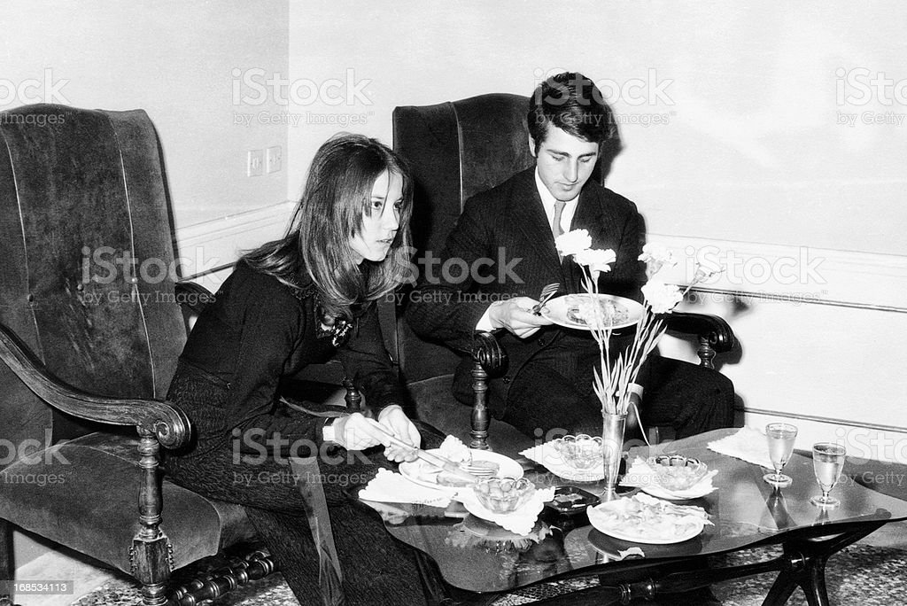Young Couple at a Party in 1966.Black And White. royalty-free stock photo