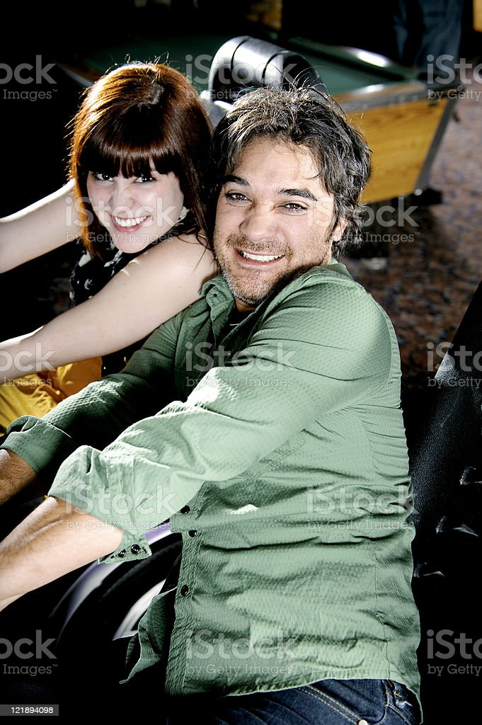 Young Couple at an Arcade royalty-free stock photo