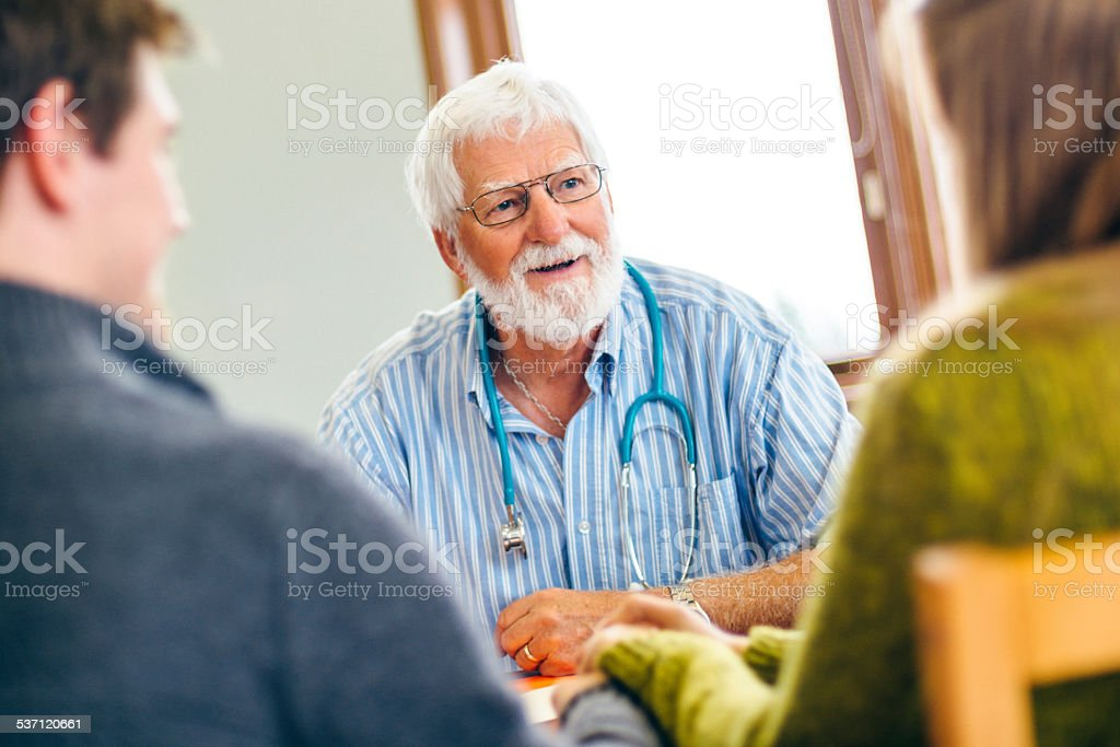 Young Couple at Family Planning Clinic stock photo