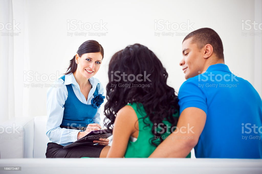 Young couple at marriage counselor royalty-free stock photo