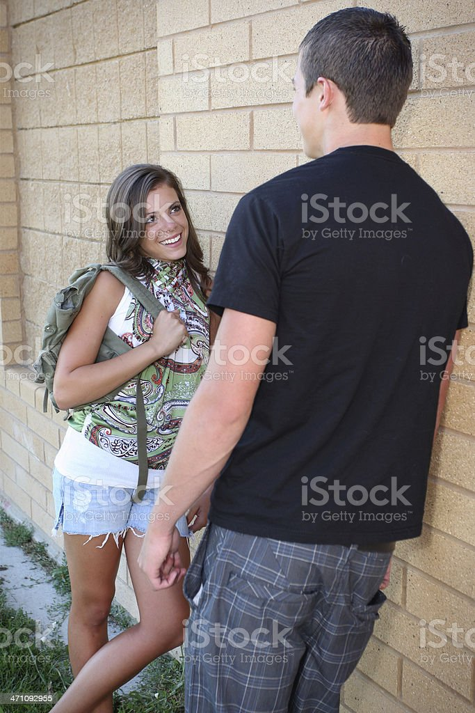 Young Couple at school royalty-free stock photo
