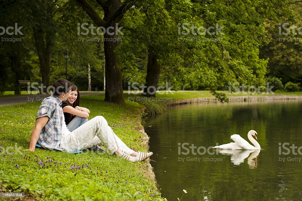 Young couple at swan lake stock photo