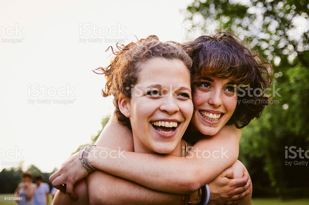 Young couple at the park stock photo