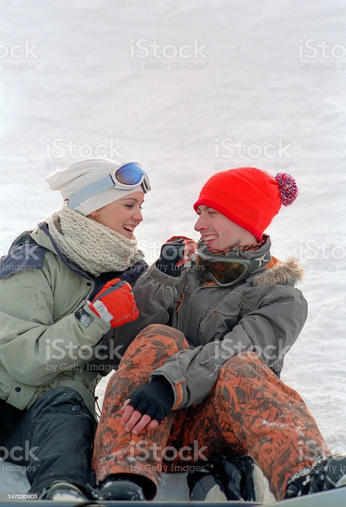 young couple at winter vacation royalty-free stock photo