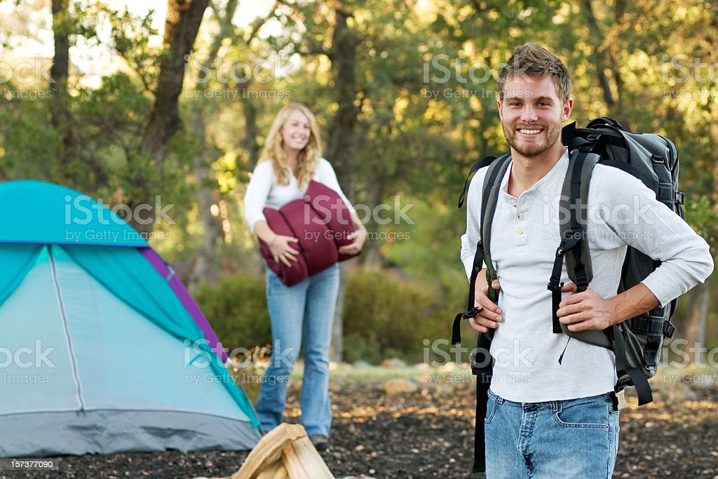 Young Couple Backpacking royalty-free stock photo