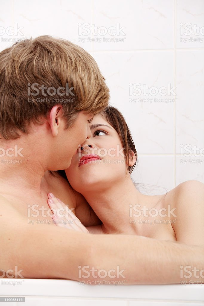 Young couple bathing together royalty-free stock photo