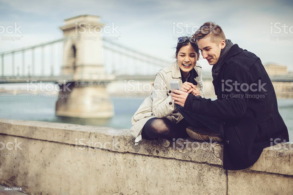 Young couple being together stock photo