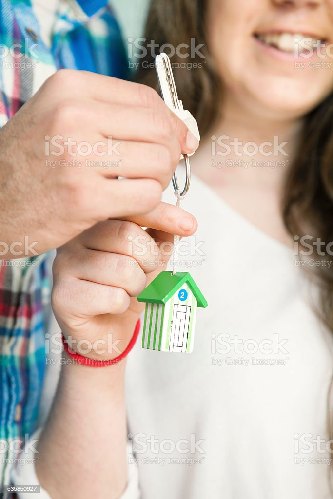 Young Couple buying a new home stock photo