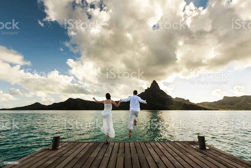 Young Couple Celebrating a Polynesian Wedding in Bora Bora stock photo