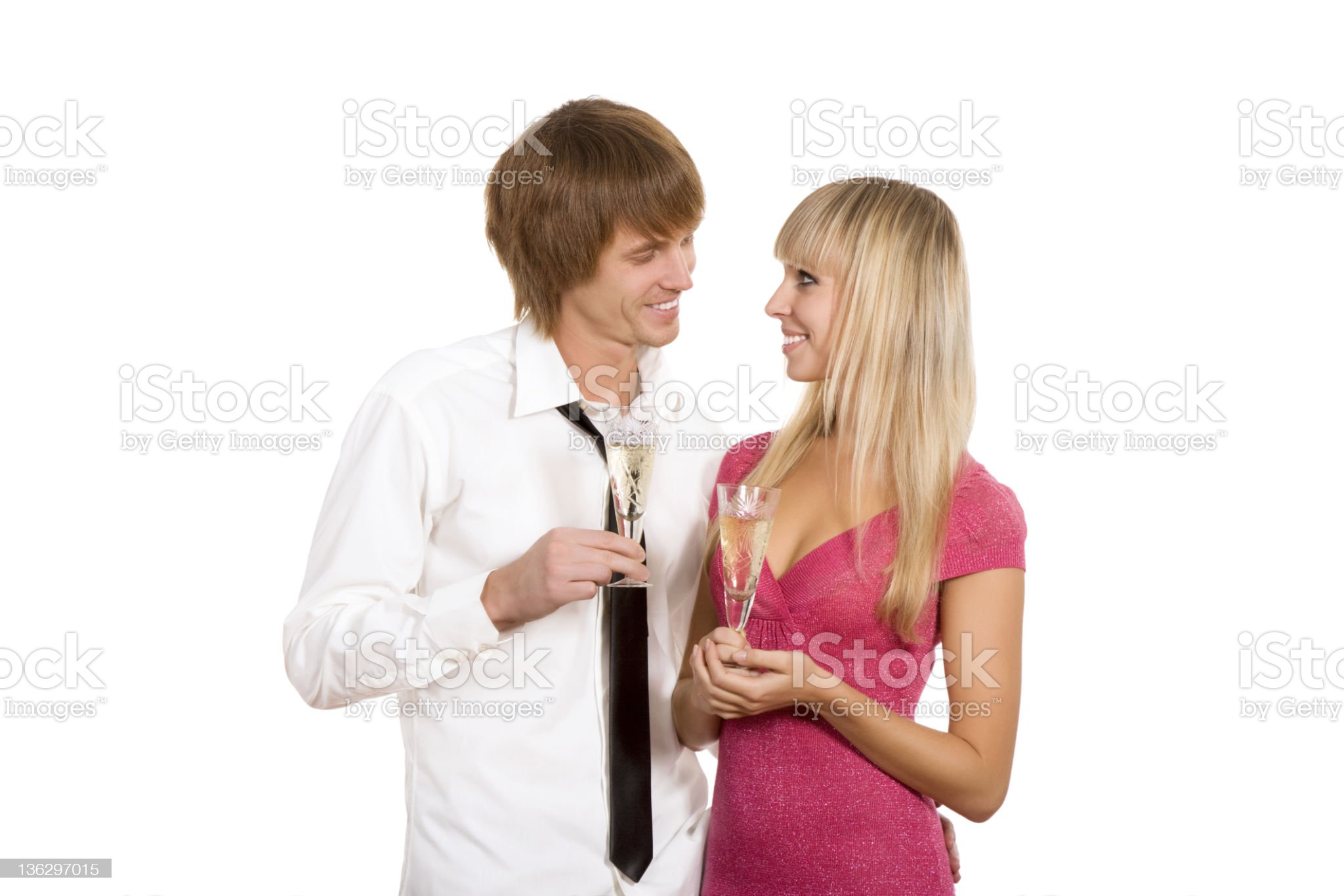 Young couple champagne royalty-free stock photo