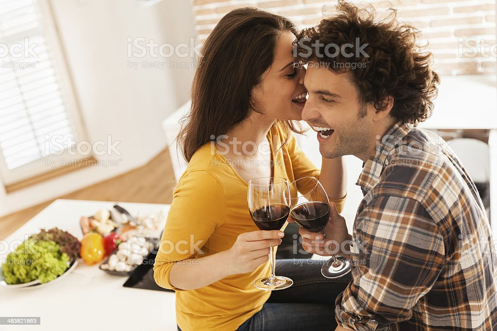 Young couple cheering royalty-free stock photo